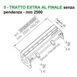 Canale a fessura tratto finale con pendenza mm 3000 h80/92 (anche a misura)