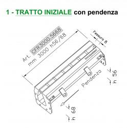 Canale a fessura ridotta mm 8 TRATTO INIZIALE con pendenza mm 3000 h. 56/68