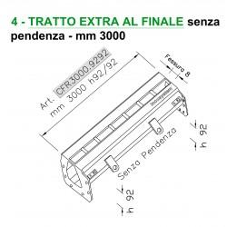 Canale a fessura ridotta mm 8 TRATTO EXTRA FINALE senza pendenza mm 3000 h. 92/92