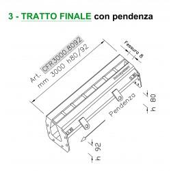 Canale a fessura ridotta mm 8 TRATTO FINALE con pendenza mm 3000 h. 80/92