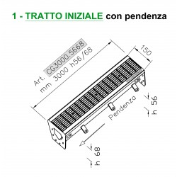 Stainless steel Channel with grating - INITIAL SECTION with slope – L 3000 mm, H 56/68 mm
