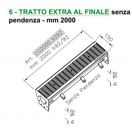 Canale a griglia TRATTO EXTRA FINALE senza pendenza mm 2000 h. 92/920