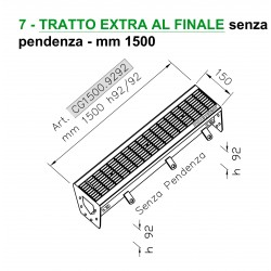 Stainless steel channel with grating – EXTRA SECTION without slope – L 1500 mm, H 92 mm constant.
