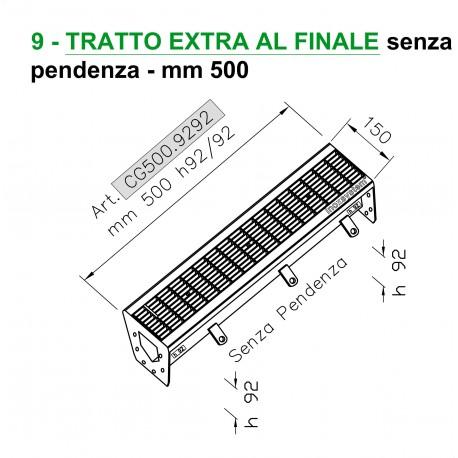 Canale a griglia TRATTO EXTRA FINALE senza pendenza mm 500 h. 92/92