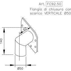 Stainless steel end cap flange with VERTICAL outlet pipe Ø 50 mm.