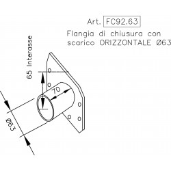 Stainless steel END CAP FLANGE with HORIZONTAL outlet pipe Ø 63 mm.