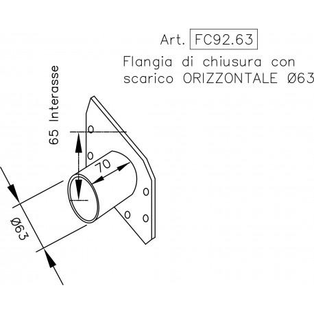 Flangia di chiusura con scarico orizzontale Ø 63 mm